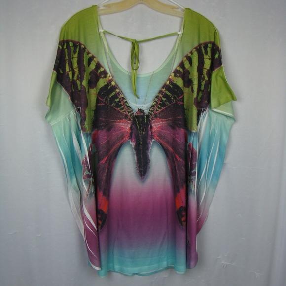 b4de418c07 Butterfly One World Beach Cover Up Shirt Top. M_5b39761d3c9844a6ed112eea